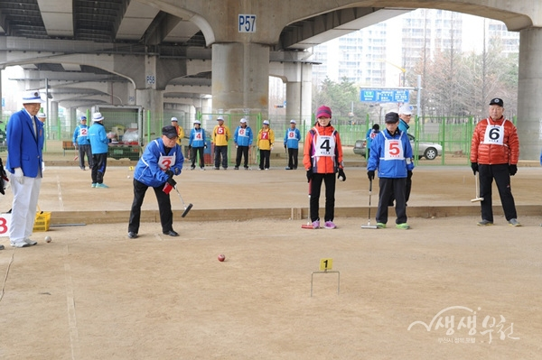 ▲ 어르신들이 공원에 마련된 게이트볼장에서 생활체육을 즐기고 있다.