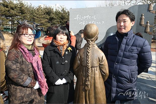▲ 제희정 상임대표와 최인선 작가 등 기념촬영