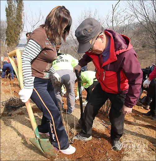 ▲ 열심히 나무를 심고 흙을 덮는 아빠와 딸.