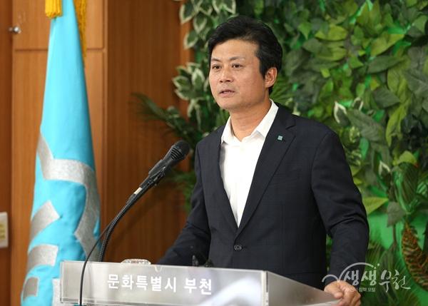 ▲ '아기환영정책'을 발표하는 김만수 부천시장