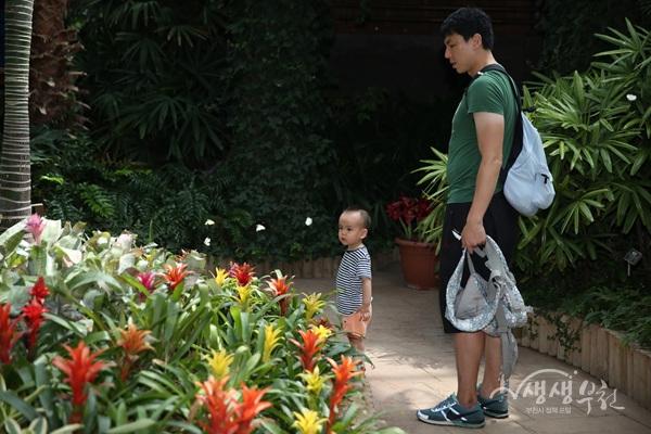 ▲ 아빠와 아이가 '나비정원'에서 나비를 보고 있다.