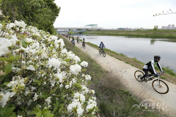 ▲ 녹색 수변 길에 조성한 자전거 산책길