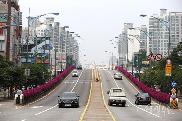 ▲ 부천시는 도로변, 고가, 인도펜스 등 30곳에 꽃걸이와 꽃벽을 설치했다.