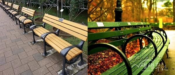 ▲ 해외기부벤치사례(미국 뉴욕 센트럴파크와 일본 진다이지 식물공원의 기부벤치)