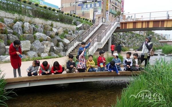 ▲ 어린이들이 심곡 시민의강 생태프로그램에 참여하고 있다.