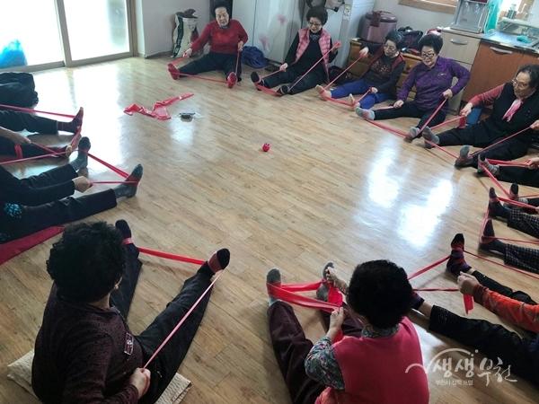 ▲ 오정보건센터 경로당 방문 운동교실 운영모습