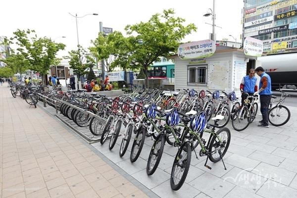 ▲ 상동역 공공자전거 대여소