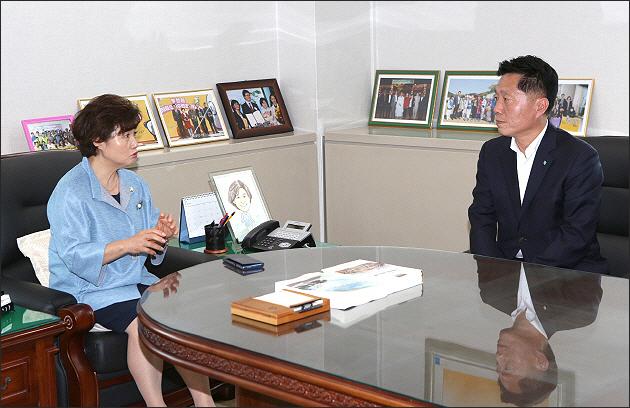 ▲ 시의회를 방문 김동희 의장과 인사를 나누는 장덕천 시장
