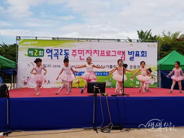 ▲ 역곡2동 제2회 주민자치프로그램 발표회에 참여한 어린이발레팀의 공연
