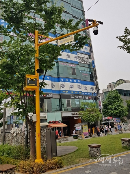 ▲ LED 안내판과 동보가능 비상벨이 설치된 CCTV