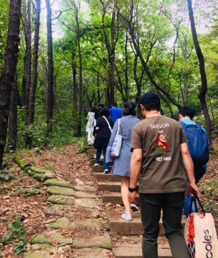 ▲ 원미산을 오르는 참가자들