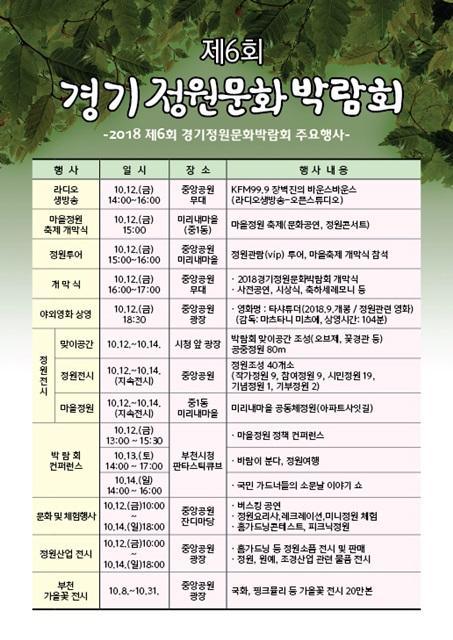 ▲ 경기 정원문화 박람회 행사 일정표