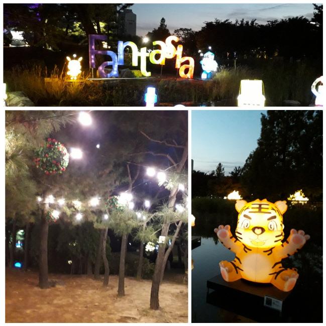 가을밤을 수놓은 많은 등이 시민들을 반긴다.