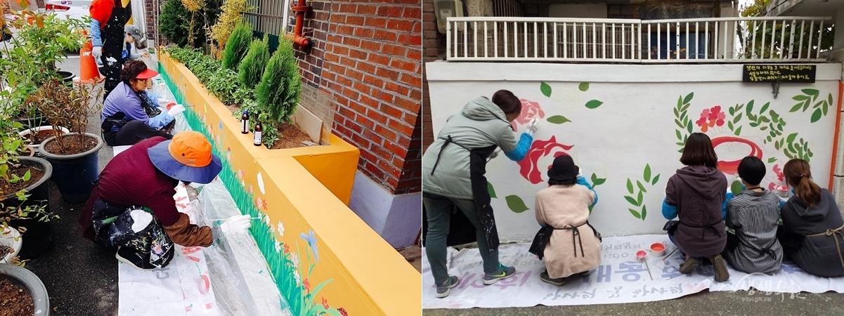 ▲ 벽화그리기 실습에 참여하고 있는 주민들