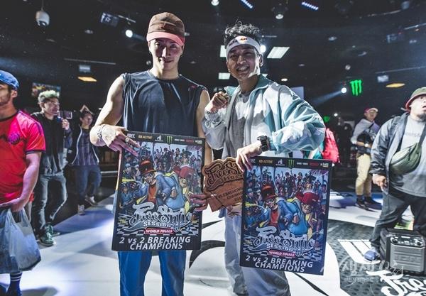 ▲ 2018 프리스타일 세션 월드파이널에서 우승한 진조크루의 윙(왼쪽)