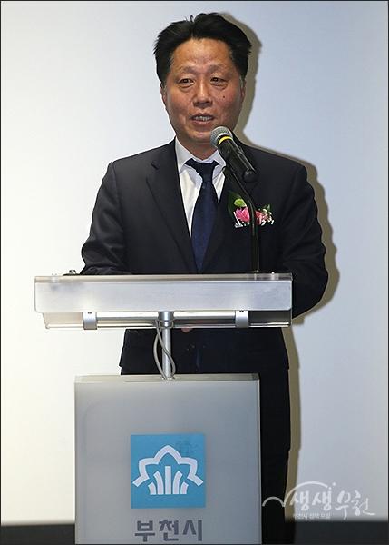 ▲ 부천독립영화관 '판타스틱큐브' 개관식 - 장덕천 시장의 축사