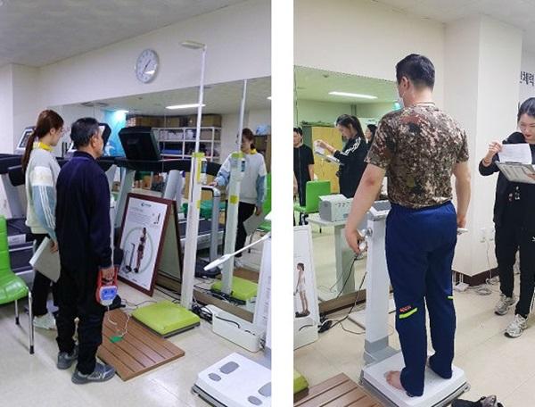 ▲ 부천체력인증센터에서 근력 측정(왼쪽)과 인바디 체크(오른쪽)를 하고 있는 모습