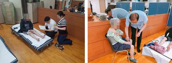 ▲ '허준봉사단'단원들의 무료 한방 진료 모습