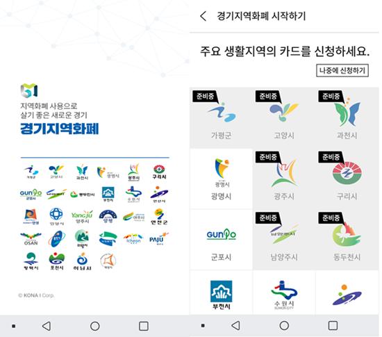 ▲ 경기지역화폐 앱 화면 모습(왼쪽)과 부천지역 선택 모습(오른쪽)