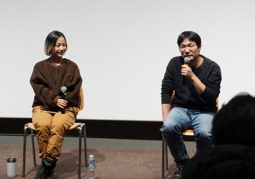▲ (왼쪽부터) 지난 1월, 배우 김꽃비와 감독 신동석이 '배우 김꽃비와 함께하는 무비토크' 프로그램을 진행했다.