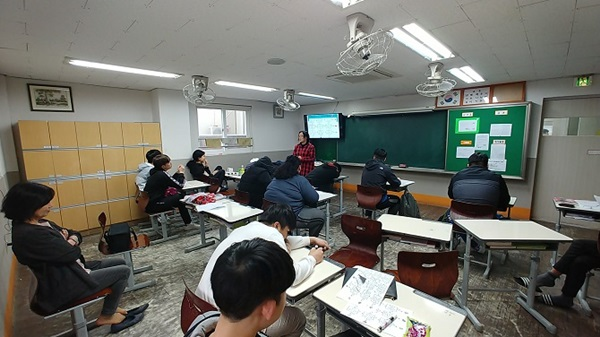 ▲ 학교 현장에서의 청소년 노동인권 교육 모습