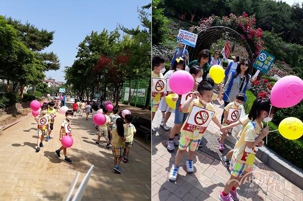 ▲ 오정보건센터에서는 성가정유치원 어린이들과 함께 금연 캠페인을 펼쳤다.