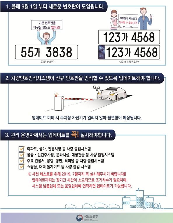 ▲ 차량번호인식 시스템 업데이트 안내문