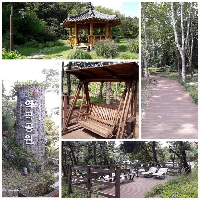 나무 그네와 선베드, 정자가 있는 역곡공원의 모습.