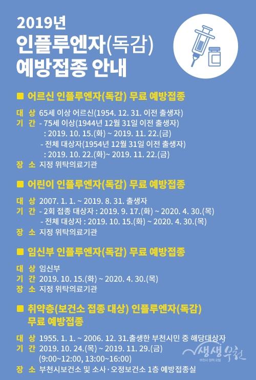 ▲ 2019년 부천시 인플루엔자 예방접종 안내문