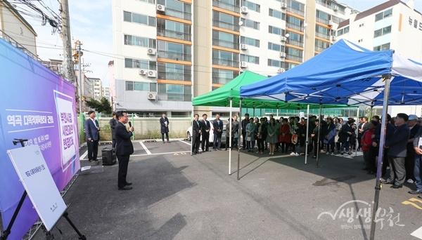 ▲ 장덕천 부천시장이 지난 16일 역곡 일대를 찾아 시민과의 대화를 했다.