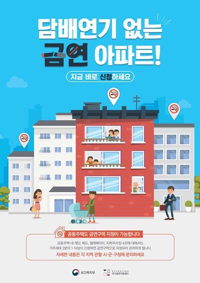 ▲ 금연아파트 신청 홍보문(출처 보건복지부, 한국건강증진개발원 국가금연지원센터)