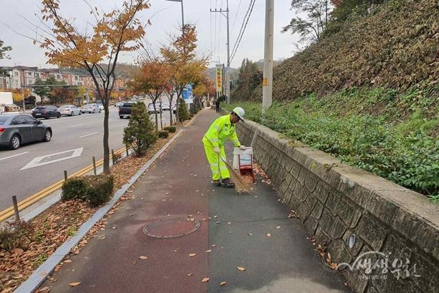 ▲ 가을철 낙엽 쓰레기를 청소 중인 모습