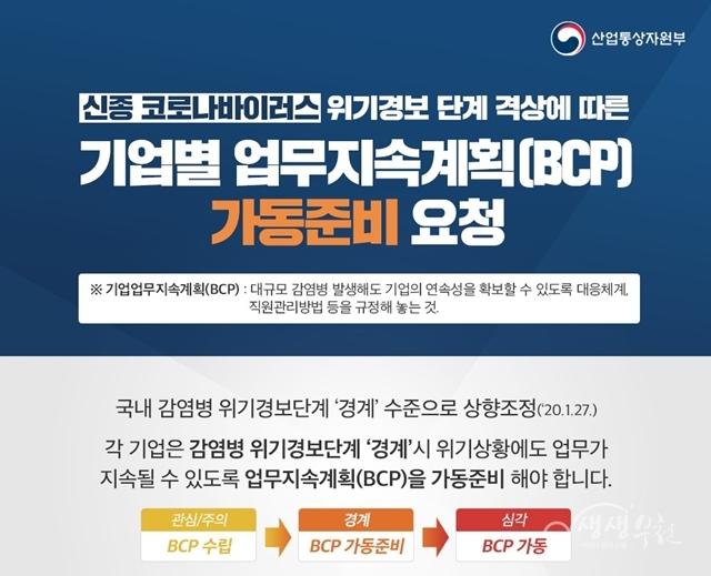 ▲ 산업통산자원부 BCP 가동준비 요청 안내문