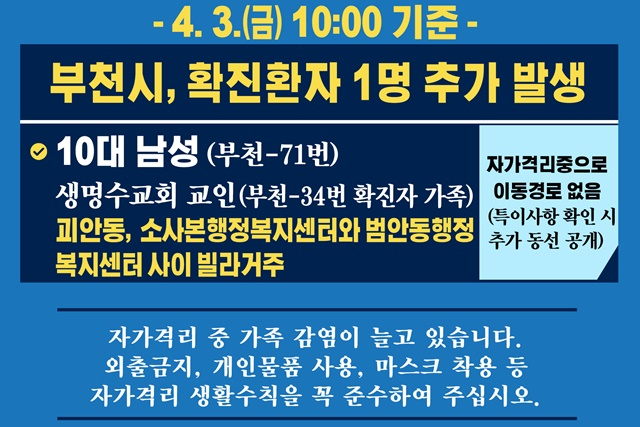 [카드뉴스] 부천시 확진환자 1명 추가 발생