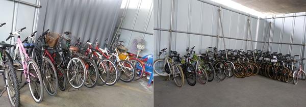 ▲ 무단방치된 자전거글 15일 공고 후 수거해 놓은 모습. 자전거재생센터에서 점검과 수리 후 공공자전거로 태어나게 된다.