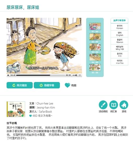 ▲ 중국어 동화구연 화면 이미지. 영상 시청 도중 우측 원하는 언어 클릭시 해당 언어로 자막과 음성이 변경되어 동화구연 서비스가 된다