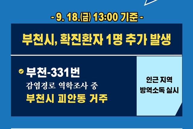 [카드뉴스] 9.18.(금) 13:00 기준 부천시 확진 환자 1명 추가 발생