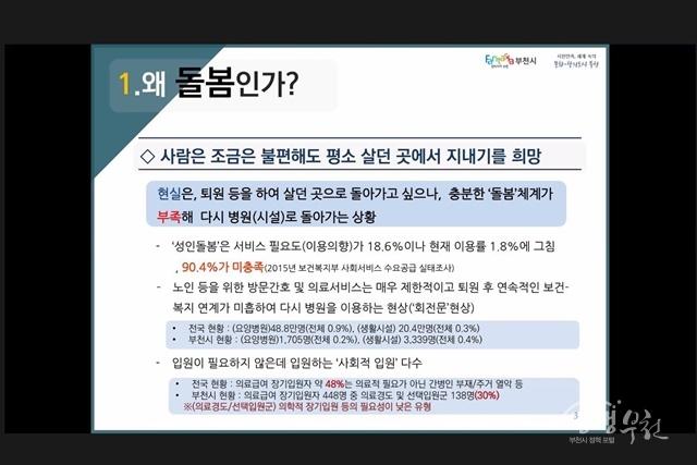 ▲ 부천시·서울신학대학교가 지난 3일 개최한 지역사회통합돌봄 협력 세미나 진행 모습