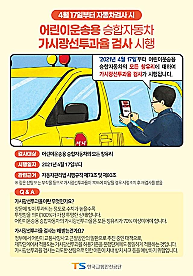 ▲ 가시광선투과율 검사 안내 포스터(출처=교통안전공단)
